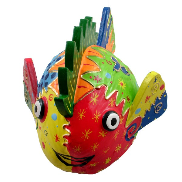 Colorful Coconut Fish Decorative Art, Handmade in Indonesia