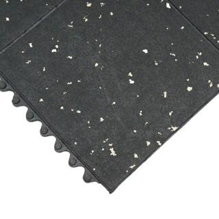 Rubber-Cal Revolution Gym Interlock Black/ White Specks Flooring Tiles  5/8 x 36 x 36-inch (Set of 2, Covers 18 Square Feet)