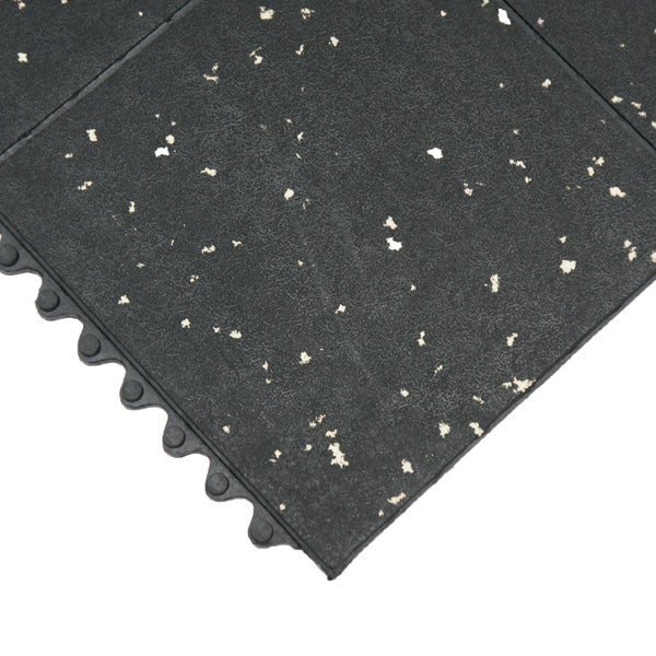 Rubber-Cal Revolution Gym Interlock Black/ White Specks Flooring Tiles  5/8 x 36 x 36-inch (Set of 2, Covers 18 Square Feet)