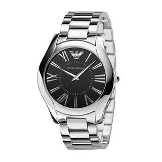 Armani Men's AR2022 Classic Round Black Dial Stainless Steel Watch