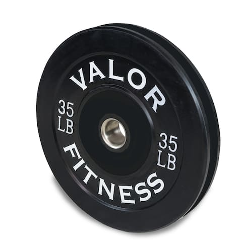 Valor Fitness BP-35 Rubber Olympic Bumper Weight Plates for Barbells, Ideal for Cross Training, and Strength and Conditioning