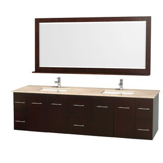 Wyndham Collection Centra Double-sink Espresso 80-inch Vanity and Mirror Set