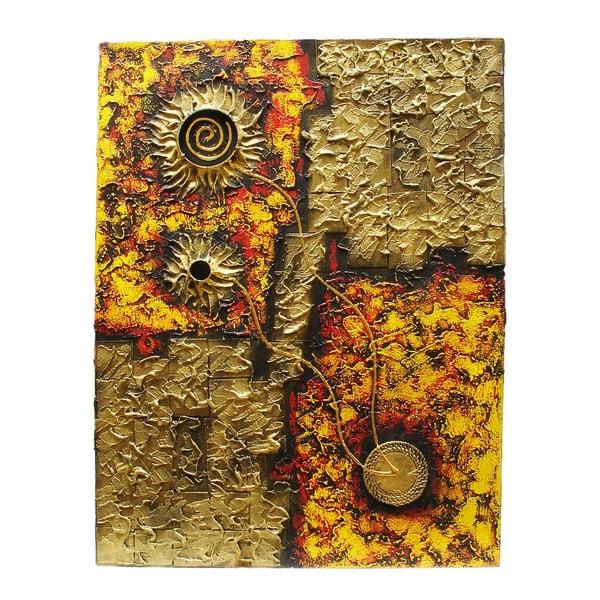 Handmade Dimensional Alas Gelas Abstract Canvas Art (Indonesia)