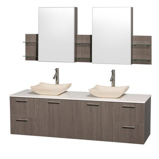 Wyndham Collection Amare Grey Oak 72-inch Double Vanity with Mirror Medicine Cabinets