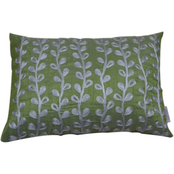 Embroidered Vines Decorative Lumbar Pillow (India)