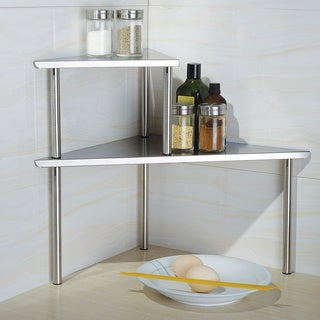 Cook N Home 2-Tier Corner Storage Shelf, Stainless Steel