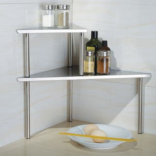 Cook N Home 2-Tier Corner Storage Shelf, Stainless Steel|https://ak1.ostkcdn.com/images/products/8239632/8239632/Cook-N-Home-2-Tier-Corner-Storage-Shelf-Stainless-Steel-P15567929.jpg?impolicy=medium