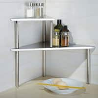 Cook N Home 2-Tier Stainless Steel Corner Storage Shelf Organizer, Triangle