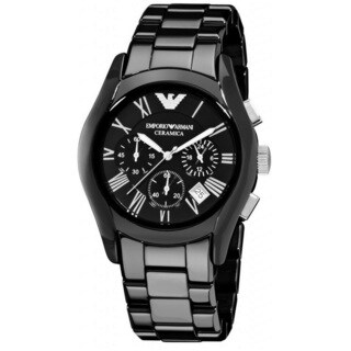 Emporio Armani Men's 'Valente' Chronograph Black Ceramic Watch