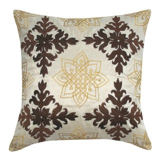 Handmade Medallion Embroidered Decorative Throw Pillow (India)