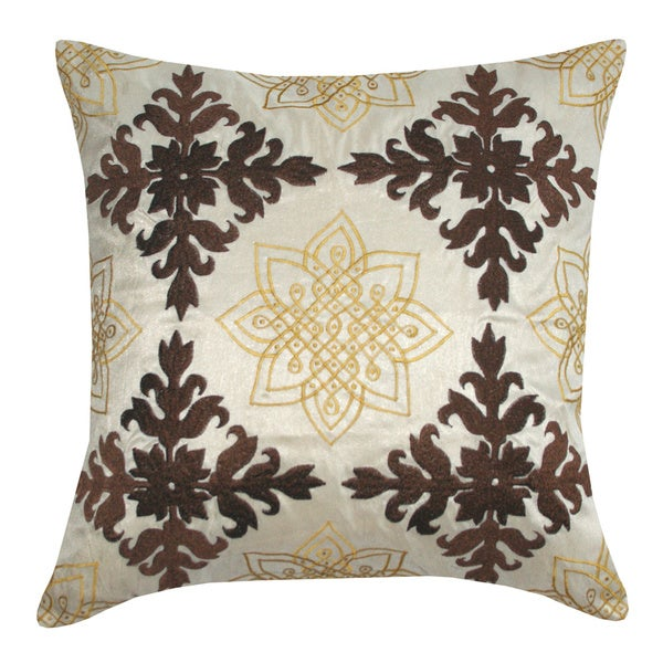 Handmade Medallion Embroidered Decorative Throw Pillow (India)