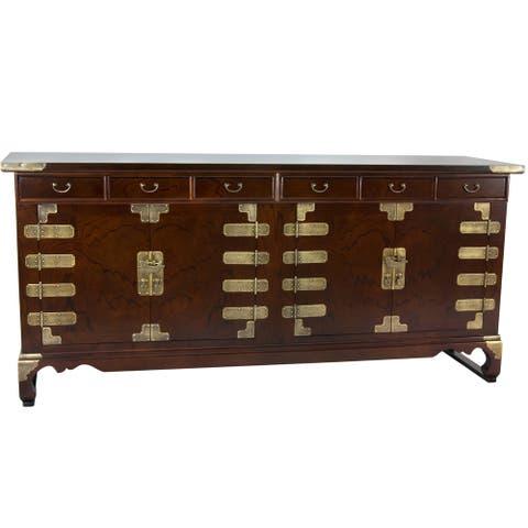 "Handmade Korean Antique Style 8 Drawer Buffet Credenza (Korea) - 71.5""W x 18""D x 32.5""H"