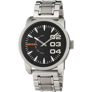 Diesel Men's DZ1370 Silver Stainless-Steel Quartz Watch with Black Dial