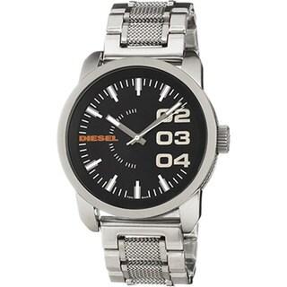 Diesel Men's DZ1370 Silver Stainless-Steel Quartz Watch with Black Dial