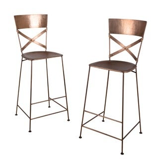 Set of 2 Jabalpur Copper Bar Stools (India)
