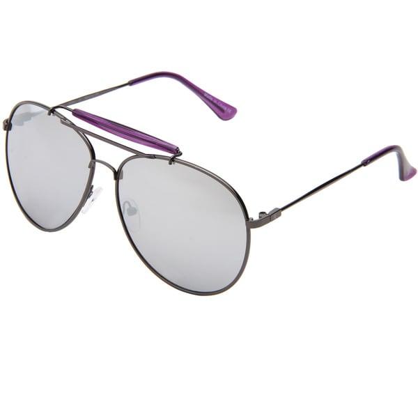 Izod Unisex IZ 364 31 Gunmetal And Purple Metal Aviator Sunglasses