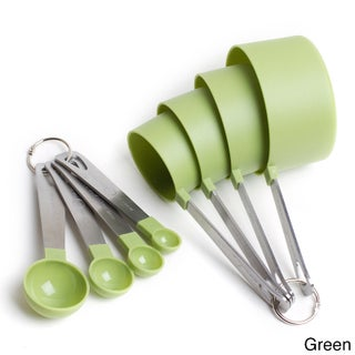 Cook's Corner 8 Piece Measuring Set-4 Measuring Cups; 4 Measuring Spoons with Stainless Steel Handles (Option: Green)