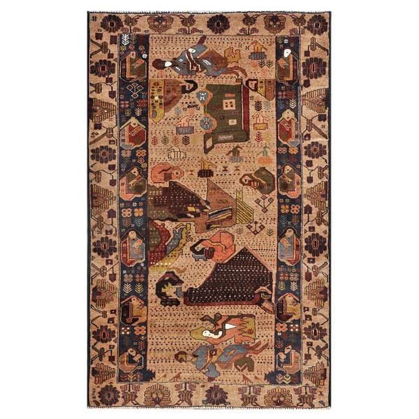 Afghan Hand-knotted Tribal Balouchi Light Brown/ Dark Brown Wool Rug (3'7 x 5'11)
