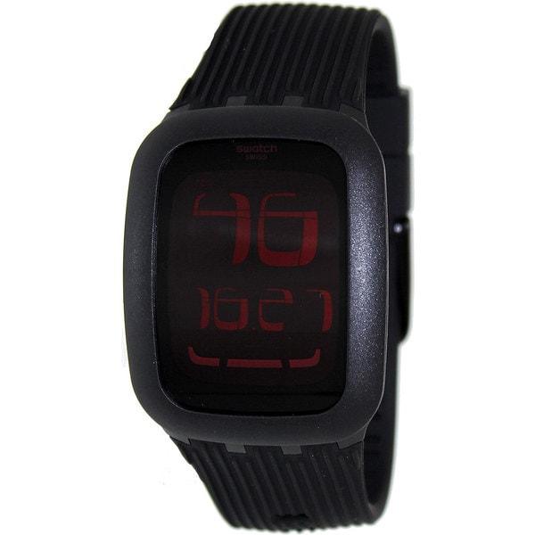 Swatch Men's Irony SURB102 Black Rubber Swiss Quartz Watch with Digital Dial