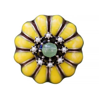 Sweet Romance Yellow Zinnia Flower Enamel Retro Ring