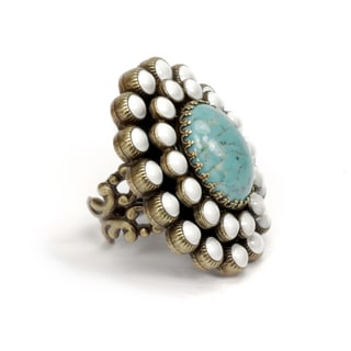 Sweet Romance Oval Turquoise and White Enamel Southwest Boho Ring