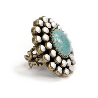 Sweet Romance Oval Turquoise and White Enamel Southwest Boho Ring