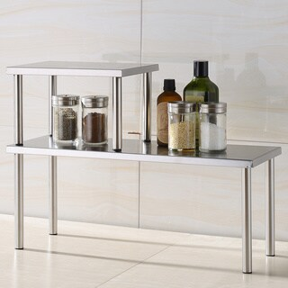 Cook N Home 2-Tier Counter Storage Shelf, Stainless Steel|https://ak1.ostkcdn.com/images/products/8239817/8239817/Cook-N-Home-2-Tier-Counter-Storage-Shelf-Stainless-Steel-P15567930.jpg?_ostk_perf_=percv&impolicy=medium