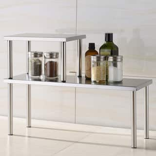 Cook N Home 2-Tier Counter Storage Shelf, Stainless Steel|https://ak1.ostkcdn.com/images/products/8239817/8239817/Cook-N-Home-2-Tier-Counter-Storage-Shelf-Stainless-Steel-P15567930.jpg?impolicy=medium