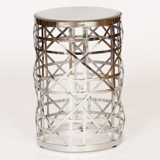 Geometric Nickel Finish Drum Accent Table