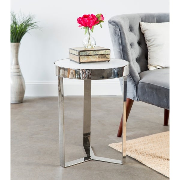 Merveilleux Contemporary Minimalist Metal And Stone Side Table