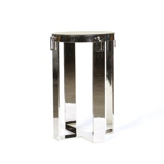 Modern Steel End Table with Round Top