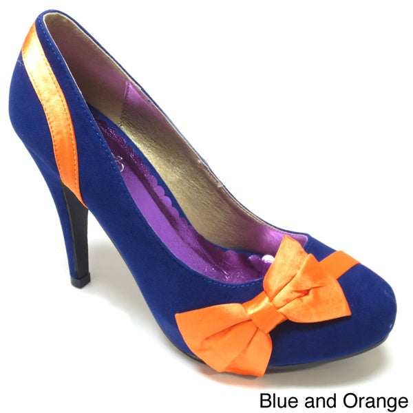 b3553f674d5 Shop Luv s Women  Catucia  Suede and Satin Bow-topped Pumps - Free ...