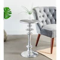 Pedestal Turned Side Table with Grooved Top