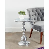 Round Cast Aluminum Table with Turned Base