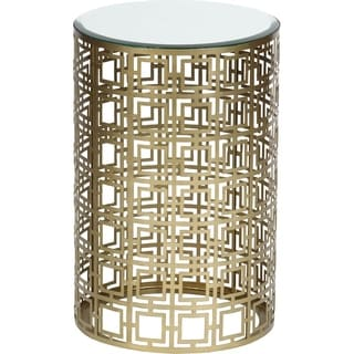 Geometric Antique Brass Finish Drum Accent Table
