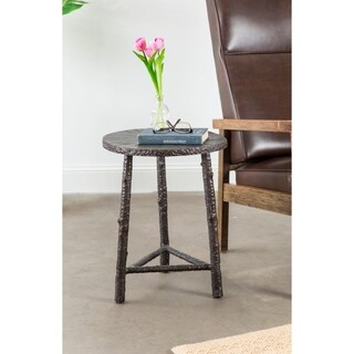 Cast Metal Finish Wood Slab End Table