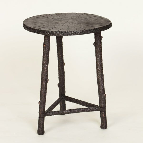 Attractive Cast Metal Finish Wood Slab End Table