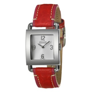 Coach Women's 'Legacy Harness' Red Leather Strap Quartz Watch