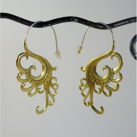 Handmade Yellow Brass Swan Dreams Earrings by Spirit (Indonesia)