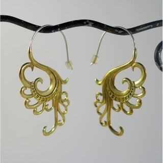 Handmade Yellow Brass 'Swan Dreams' Earrings by Spirit (Indonesia)