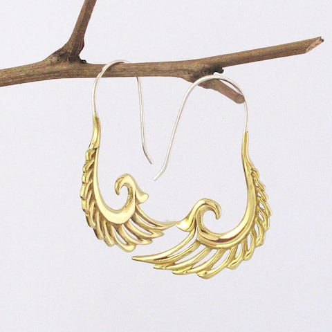Handmade Brass Wings of Freedom Spirit Earrings (Indonesia)