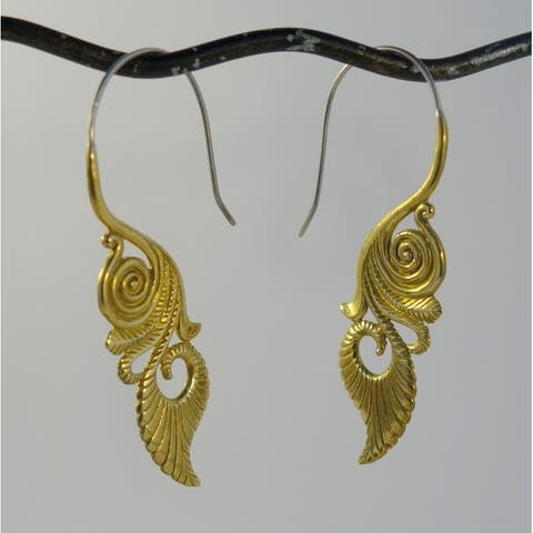 Handmade Brass Hypnotic Tribal Hook Earrings by Spirit (Indonesia)
