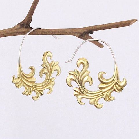 Handmade Yellow Brass French Frond Earrings by Spirit (Indonesia)