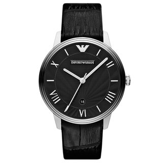 Emporio Armani Men's AR1611 'Classic' Black Leather Watch