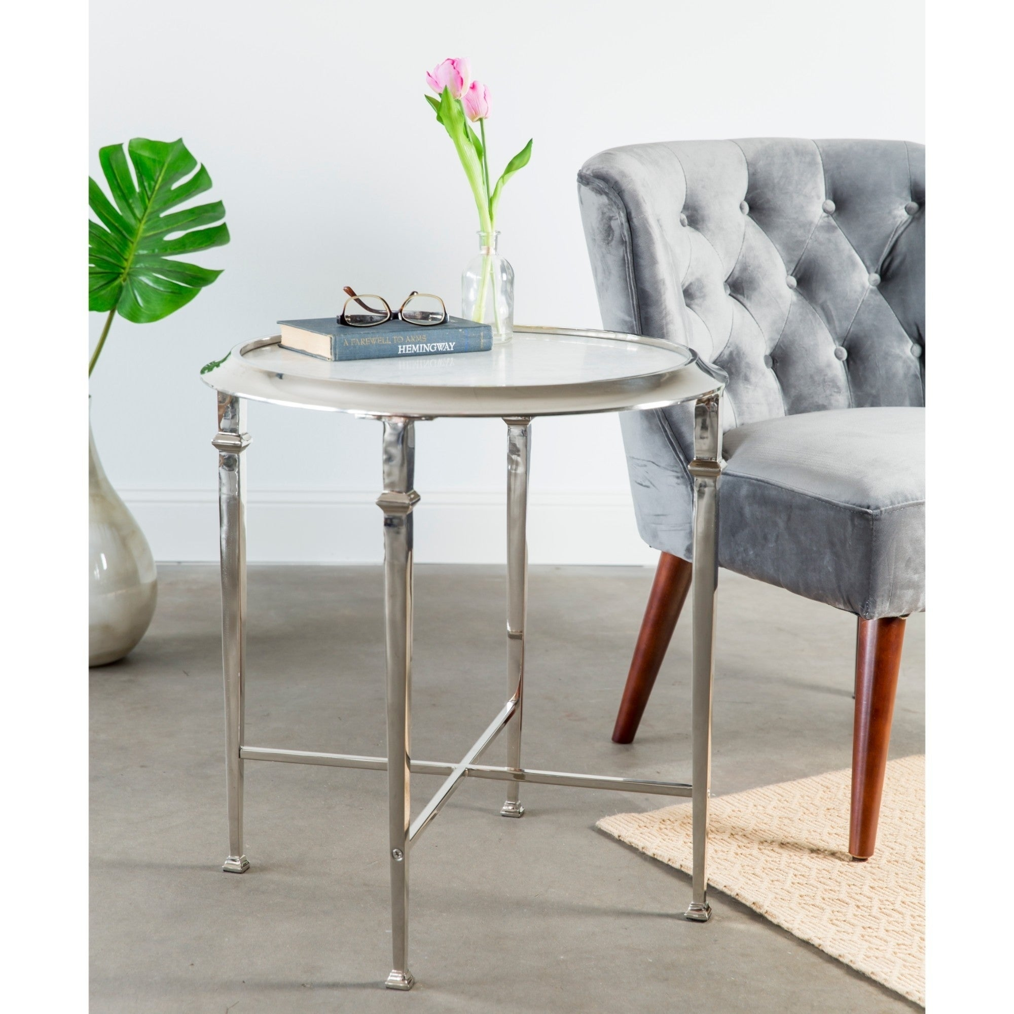 Knox & Harrison Handmade Chic Metal End Table with Granit...
