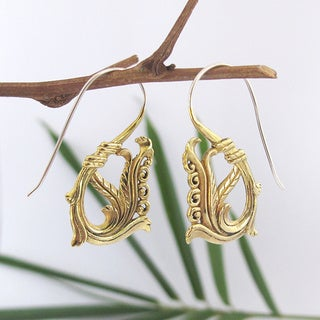 Handmade Fiddle Fern Spiral Tribal Fusion Earrings (Indonesia)