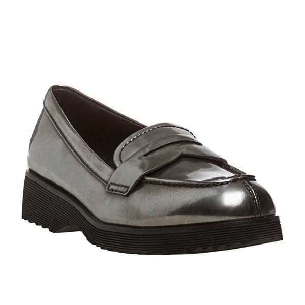 Prada Women's Anthracite Metallic Leather Loafers