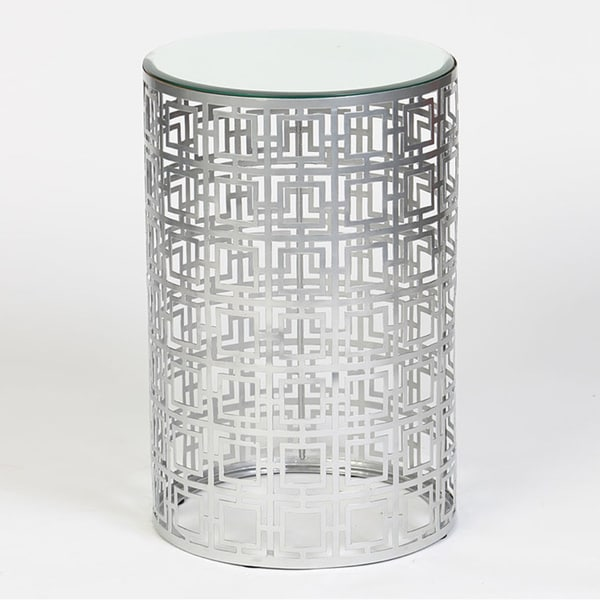 Geometric Silver Finish Drum Accent Table