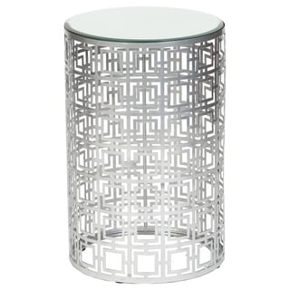 Handmade Geometric Silver Finish Drum End Table (Mexico)