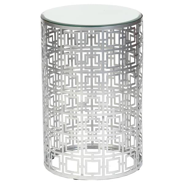 Handmade Geometric Silver Finish Drum End Table Mexico
